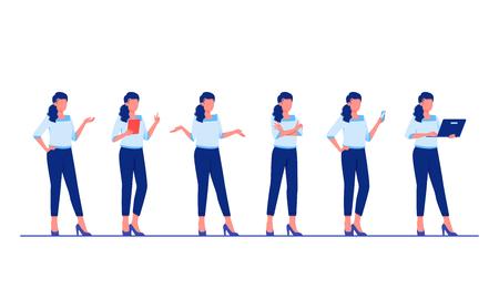 Ilustración de Set of business characters poses and actions. Businesswoman is standing in different poses. Flat vector illustration - Imagen libre de derechos