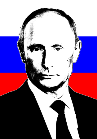 Editorial Illustration of Vladimir Putin and Russian Flag
