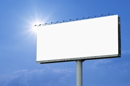 blank billboard for advertisement with beautiful sunlight background