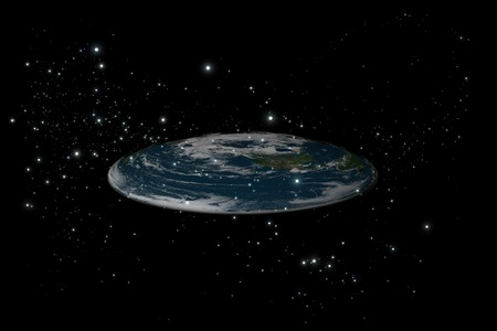 Photo for The old flat Earth inside stars in the black background, side view - Royalty Free Image
