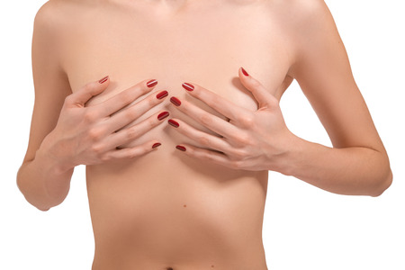 Photo for inrecognizable female body with small breasts isolated - Royalty Free Image