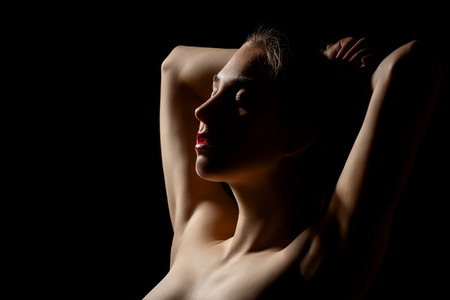 Photo for sensual woman, closed eyes on black background - Royalty Free Image