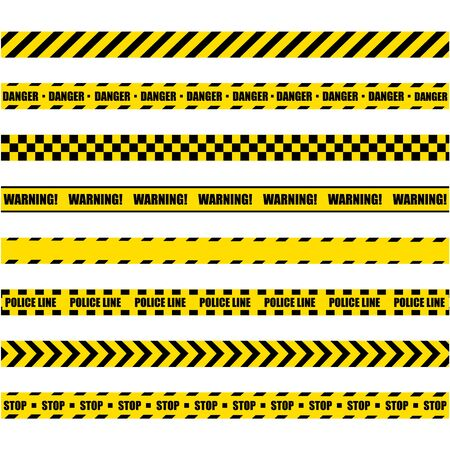 Illustration pour Police Warning Line. Yellow And Black Barricade Construction Tape On White Background. - image libre de droit