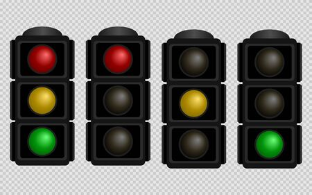 Illustration for Traffic light. Set of traffic lights with red, yellow and green color on a transparent background. Isolated vector illustration. - Royalty Free Image