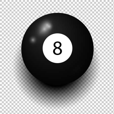 Illustration pour Stock vector of billiard ball number 8. Black color. Isolated wind object on transparent background. - image libre de droit