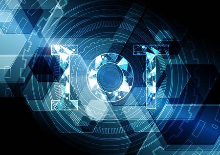Ilustración de Internet of things technology abstract circle hexagonal background - Imagen libre de derechos