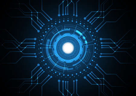 Illustration for Technology abstract future circuit circle hexagonal background - Royalty Free Image