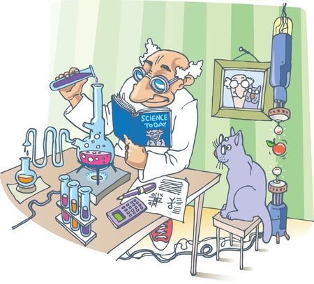 A picture about the Scientist, his Cat and a strange experiments.