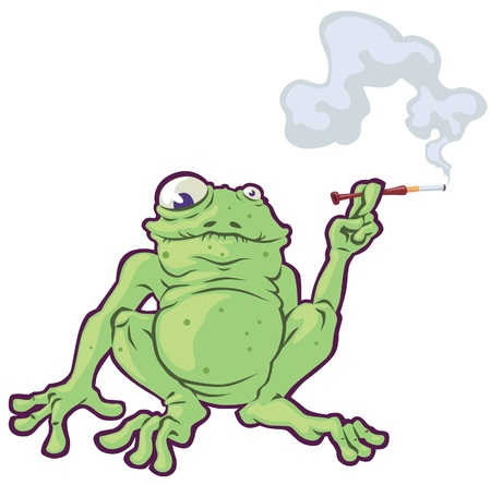 The fat frog is smoking the cigarette
