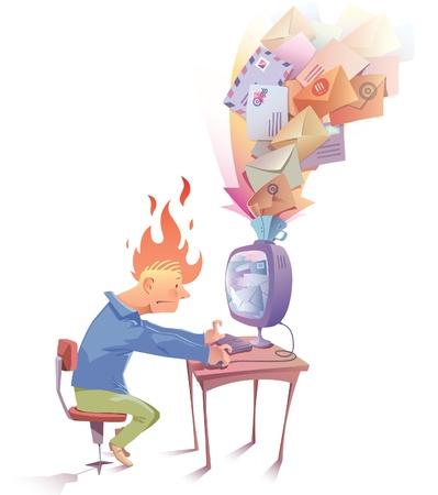 Illustration pour The man is working at the computer. Hi looks a bit nervous because he receive a lot of Spam messages... - image libre de droit