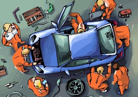 The mechanics are repairing the blue sport car