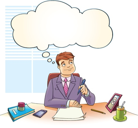 The businessman with the thinking bubble is dreaming over the blank papers on a table in the office.