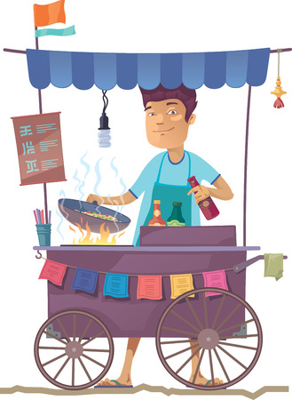 Illustration pour The smiling young asian cook is preparing the tasty vegetarian rice on his outdoor mobile street kitchen. He is looking at camera.The hieroglyphs in the menu are only stylization. - image libre de droit