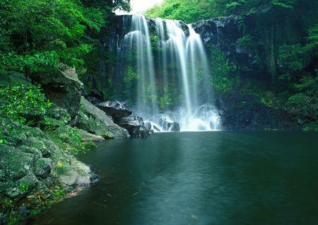 Famous Chunjeyun Waterfall of Jeju island in South Korea.