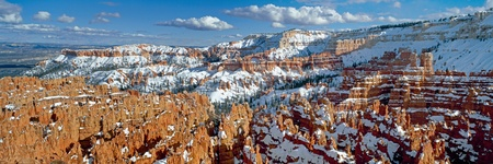 Panoramic view on Bryce canyon national park in winter sunny day