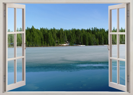 Photo pour Open window view to lake with ice in spring - image libre de droit