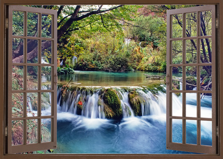 Photo pour Open window view to small waterfall on the river - image libre de droit