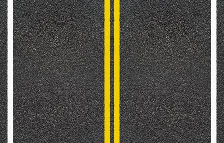 Photo pour Road asphalt with  yellow and dashed white stripe - image libre de droit