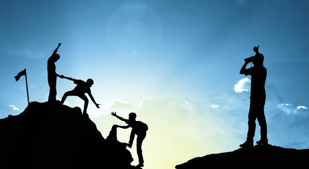 Photo for climbing helping  team work , success concept - Royalty Free Image