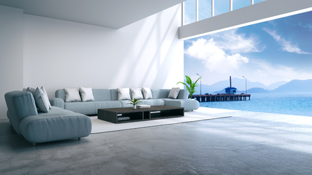 Photo pour modern room interior  near beach with  sky and sea view /3d render - image libre de droit