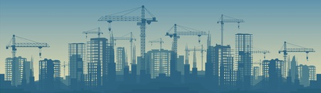 Foto de Wide banner illustration of buildings under construction in process. - Imagen libre de derechos