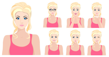 Illustration for blond model girl with different facial emotions set. illustration - Royalty Free Image