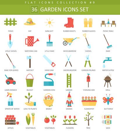 Illustration pour garden color flat icon set. Elegant style design. - image libre de droit