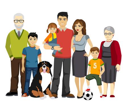 Ilustración de Big and Happy Family illustration isolated - Imagen libre de derechos