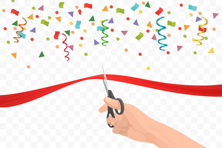 Ilustración de Hand holding scissors and cutting red ribbon on the transperant background. Opening ceremony or celebration and event - Imagen libre de derechos