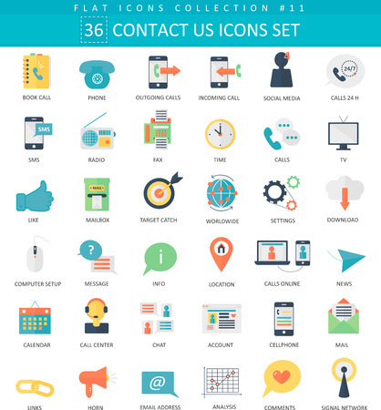 Ilustración de contact us color flat icon set. Elegant style design - Imagen libre de derechos