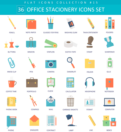 Illustration pour Vector Office stacionery  color flat icon set. Elegant style design - image libre de droit
