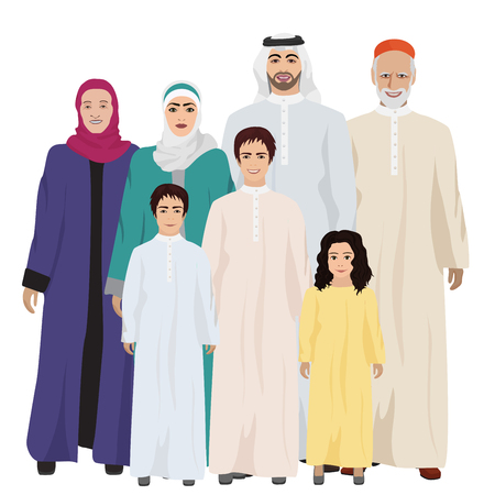 Illustration pour Big and Happy arab Family illustration isolated on white. - image libre de droit