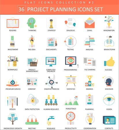 Illustration pour Project planning color flat icon set. Elegant style design - image libre de droit