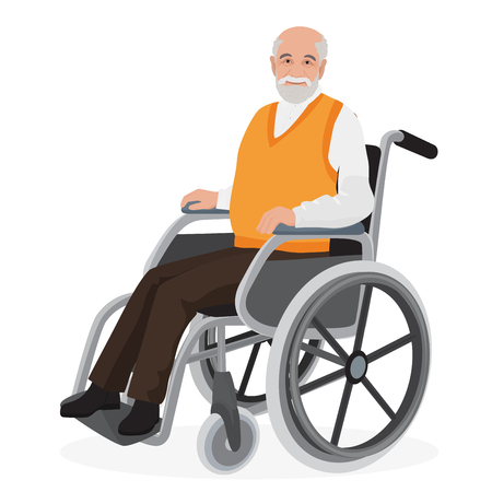 Illustration pour Old man grandfather disabled in wheelchair isolated on white - image libre de droit