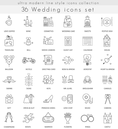 Ilustración de Vector wedding ultra modern outline line icons for web and apps - Imagen libre de derechos
