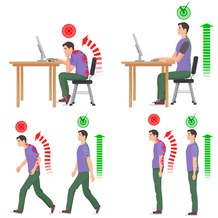 Correct and uncorrect bad sitting and walking position. Walking man. Sitting man. Back pain feeling and spinal injuriesの素材 [FY31056606919]
