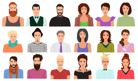 Illustration pour Man Male and Female woman character faces avatar icon in different clothes and hair styles - image libre de droit