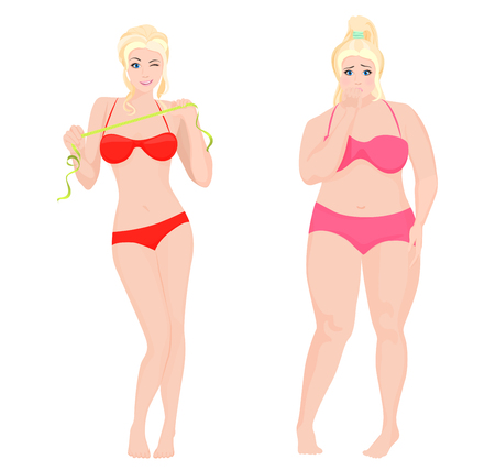 Thin Health and Fat woman. Lifestyle infographic vector illustration