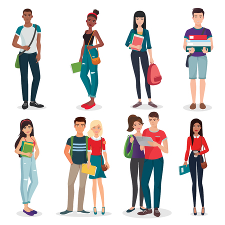 Illustration pour International university or college group of young students characters and couples collection - image libre de droit