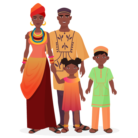 Foto de African family. African man and woman with boy and girl kids in traditional national clothes - Imagen libre de derechos