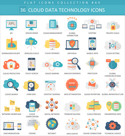 Ilustración de Vector Cloud data technology color flat icon set. Elegant style design - Imagen libre de derechos