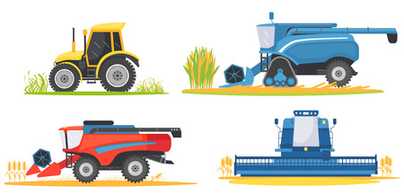 Farming agricultural machines and farm vehicles set. Farming machine harvester, combine and tractor