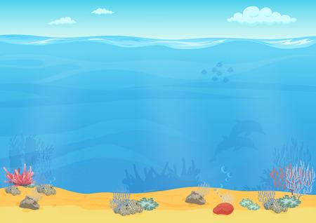 Illustration pour Cartoon sea bottom background for game design. Underwater empty seamless landscape - image libre de droit