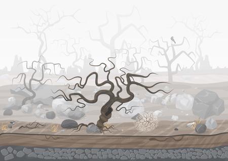 Illustration pour Mysterious forest in fog. Dark spooky halloween landscape scene - image libre de droit