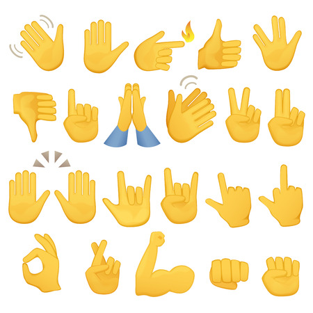 Set of hands icons and symbols. Emoji hand icons. Different gestures, hands, signals and signs, vector illustrationのイラスト素材