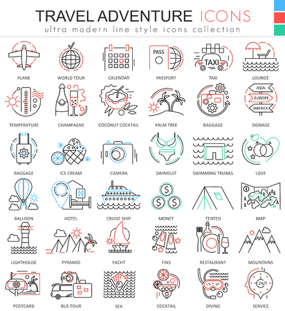 Travel adventures ultra modern outline line icons for apps and web design. Travel symbols for app and web