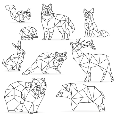 Ilustración de Low poly line animals set. Origami poligonal line animals. Wolf bear deer wild boar fox raccoon rabbit hedgehog - Imagen libre de derechos