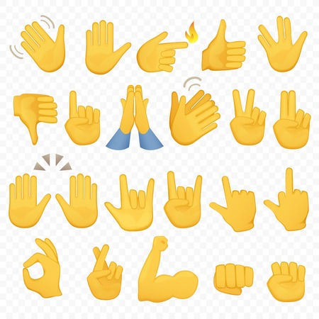 Set of hands icons and symbols. Emoji hand icons. Different gestures, hands, signals and signs, alpha background vector illustration.のイラスト素材
