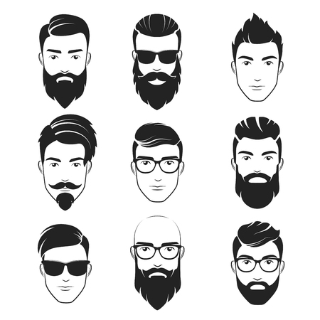 Illustration pour Set of vector bearded hipster men faces, haircuts, beards, mustaches set Handsome man emblems icons. - image libre de droit