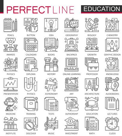 Illustration pour Education outline mini concept symbols. Modern stroke linear style illustrations set. School university perfect thin line icons. - image libre de droit